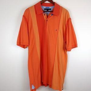 Tommy Hilfiger Orange Vertical Stripe Polo Size XL